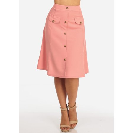 Womens Juniors Women's Junior Ladies Dressy Trendy Loose Fit Flare Button Front Button Up Mauve Pink Skirt 10198X