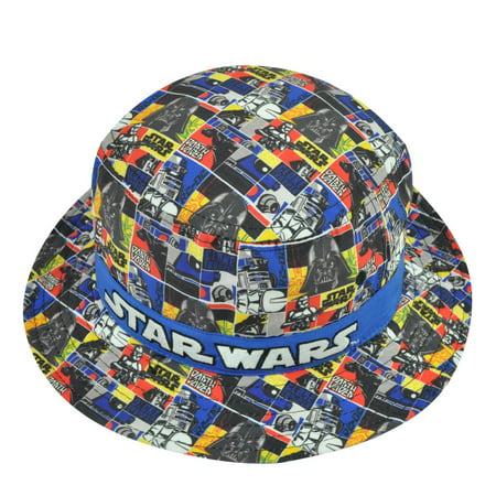 Star Wars Dye Sublimated Strip Sun Bucket Crusher Hat Youth Characters