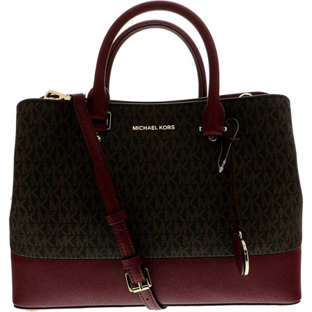 5097ba688835 Michael Kors - Michael Kors Women's Large Savannah North South Bag Leather  Top-Handle Satchel - Brown / Mulberry - Walmart.com