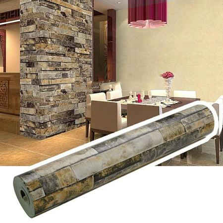 reputable site 22856 4ae82 3D Effect Wallpaper Stack Stone Brick Embossed Wall Décor PVC Wallpaper  Roll - Walmart.com