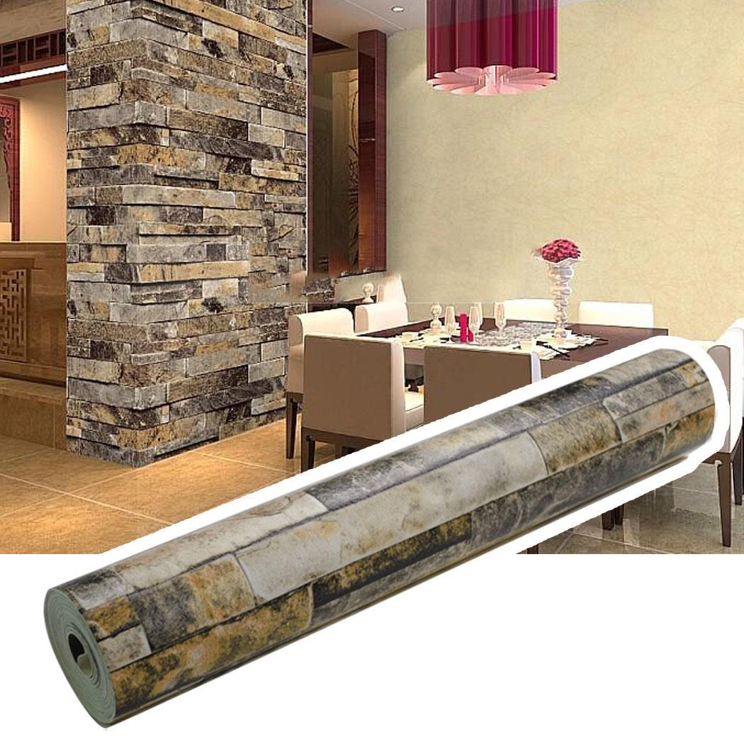 3D Effect Wallpaper Stack Stone Brick Embossed Wall Décor PVC Wallpaper Roll