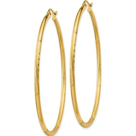14k Boucles d'oreilles en or jaune satin? & diamant?e 2 mm tube rond Hoop (2x55mm) - image 1 de 3
