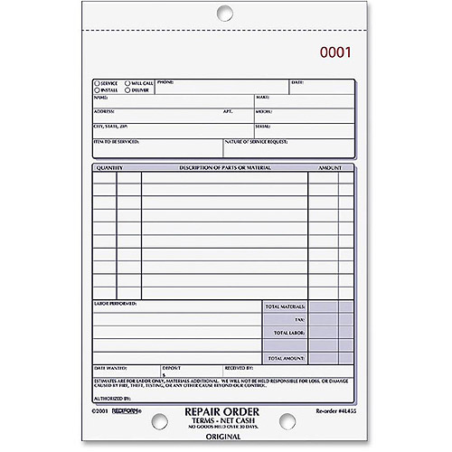 Rediform 3-part Carbonless Repair Order Book by Dominion Blueline, Inc