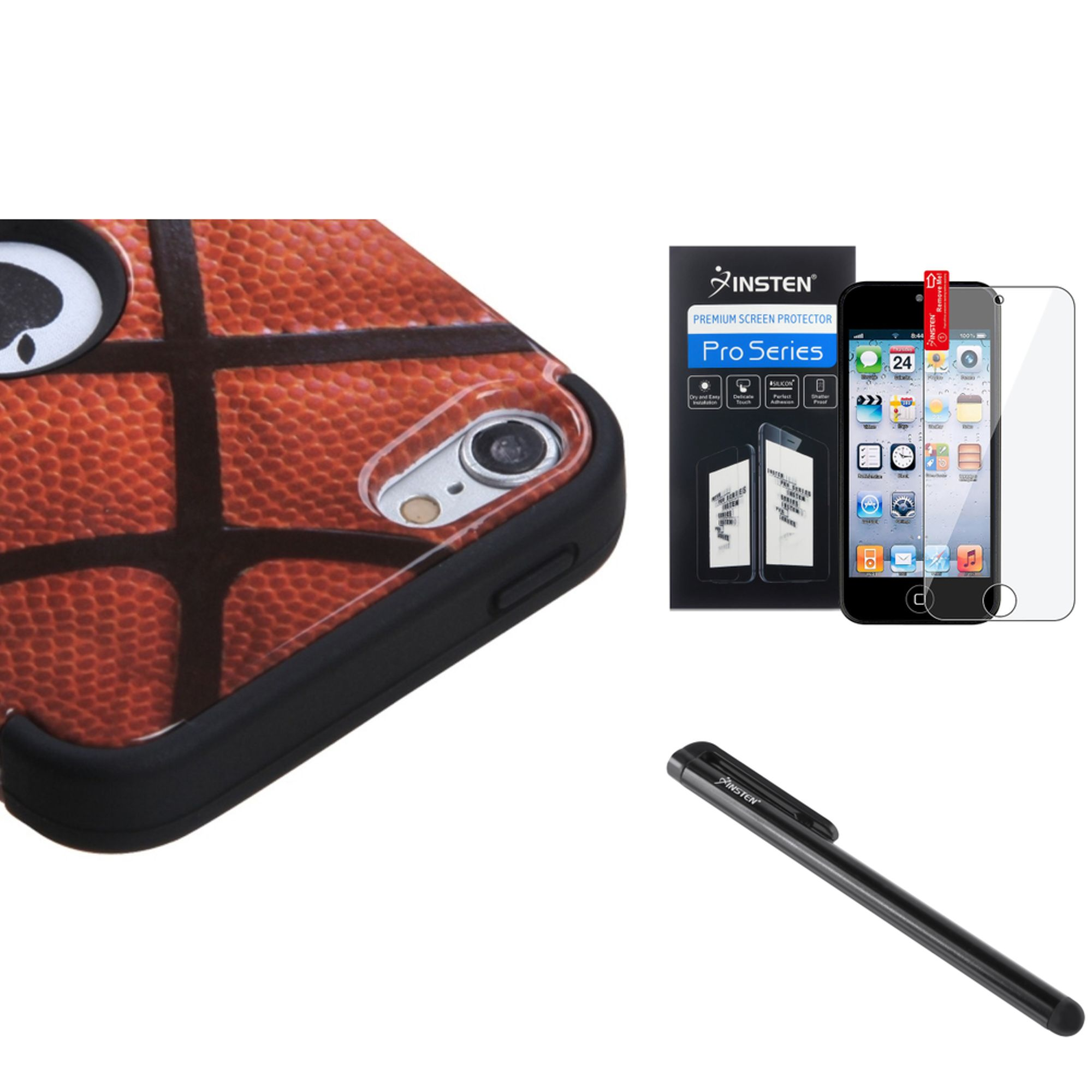 Insten Basketball TUFF Hybrid Phone Hard Case Cover For Apple iPod Touch 6th 6G 6 5th 5G 5 + Shield + Pen