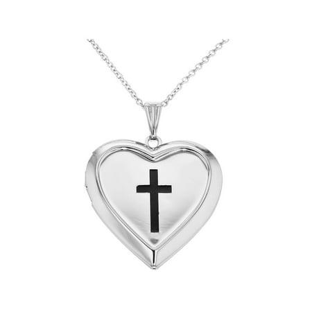 Crucifix Cross Heart Photo Locket Remembrance Pendant Necklace - Heart Crucifix