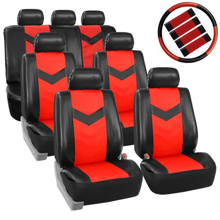 FH Group Synthetic Leather Auto Seat Cover, 7 Seater SUV VAN Full Set With Steering and Belt Pads, Black (Dodge Charger Red Leather Seats For Sale)