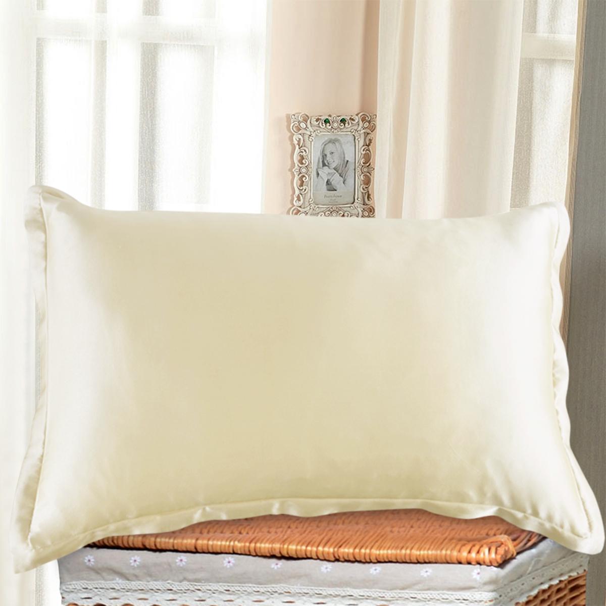1 Pair Silky Soft Silk Pillow Case Beauty Pillowcase Bed Sleep Helper-Black