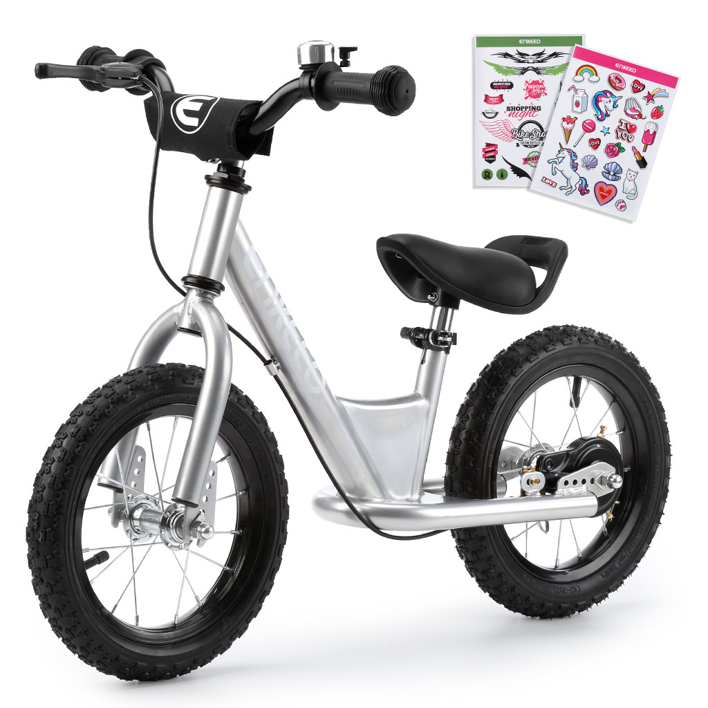 """ENKEEO 12"""" Lightest Sport Balance Bike with Adjustable Seat and Upholstered Handlebars for Kids Toddlers under 3'11"""" Height, Silver"""