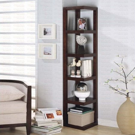 Bowery Hill Corner Bookcase in Cappuccino - image 1 of 1