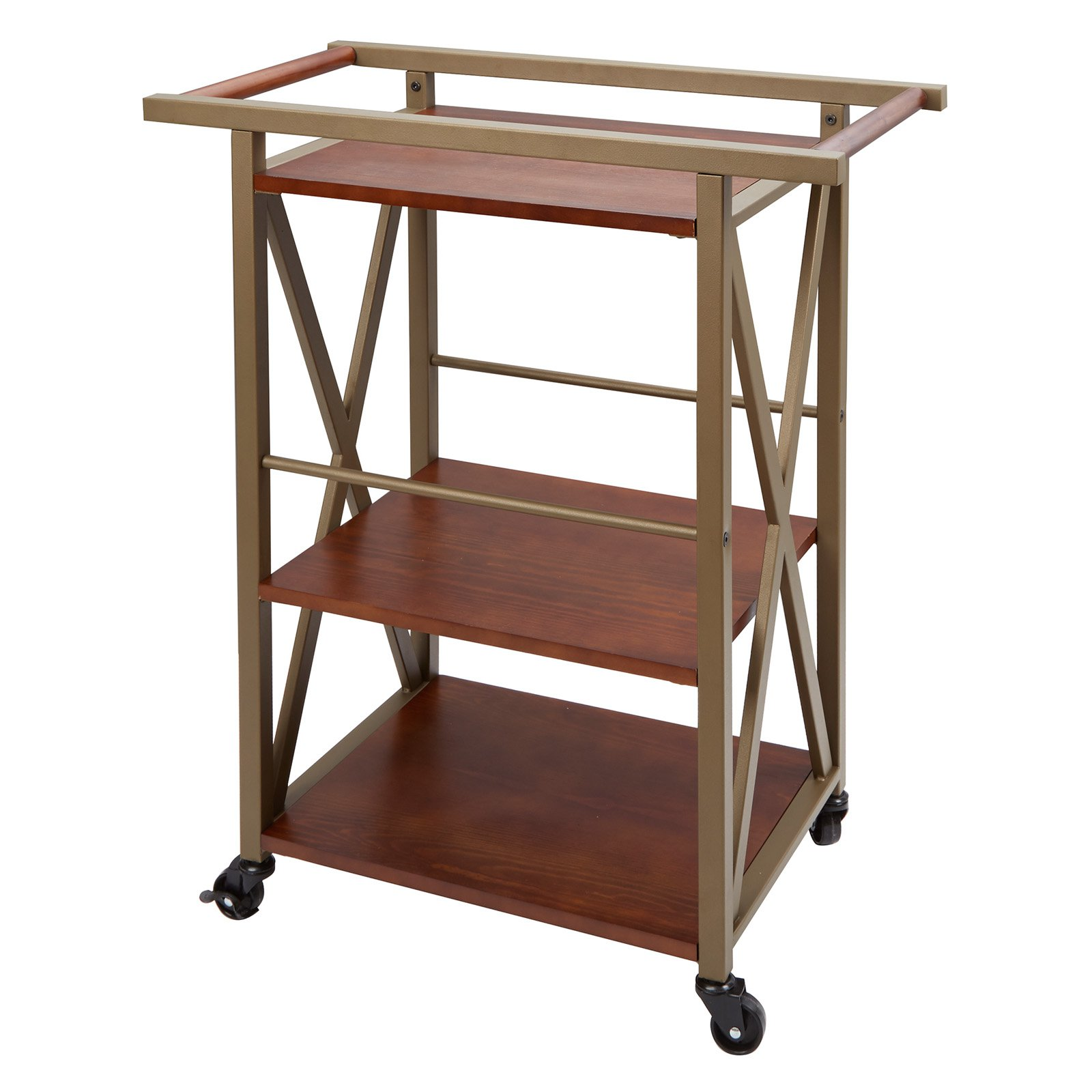 Orwell Three-Tier Gold Framed and Pine Square Rolling Bar Cart