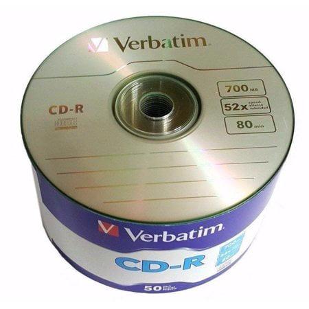 50 Pack Verbatim Blank CD-R CDR Logo Branded 52X 700MB 80min Recordable Media Disc