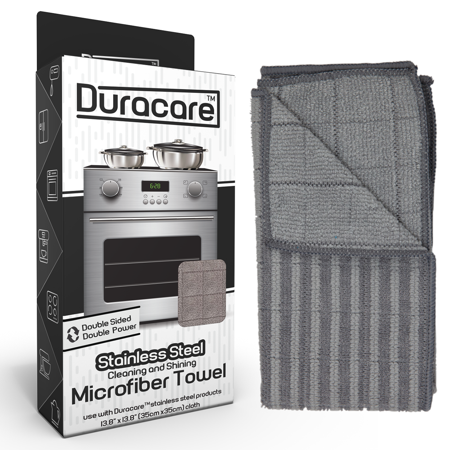 Double Sided Cloth (Duracare Microfiber Cleaning & Polishing Stainless Steel Cloth - Double-Sided for textured cleaning - Use for Cars, Household Appliances, &)