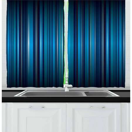 Harbour Stripe Curtains 2 Panels Set, Vibrant Nvay Blue Background with Thin Vertical Lines Modern Design, Window Drapes for Living Room Bedroom, 55W X 39L Inches, Navy Blue Teal, by Ambesonne ()