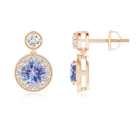 Dangling Tanzanite and Diamond Halo Earrings with Milgrain in 14K Rose Gold (5mm Tanzanite) - SE1066TD-RG-AA-5 Ocz Platinum 1066