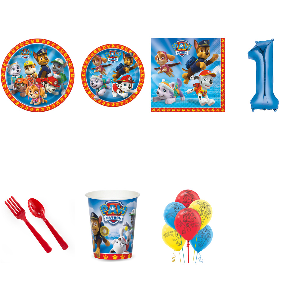 PAW PATROL PARTY SUPPLIES PARTY PACK FOR 32 WITH BLUE #5 BALLOON