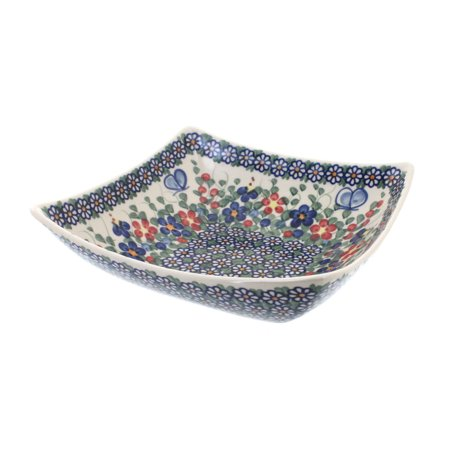 Polish Pottery Garden Butterfly Square Serving Dish Butterfly Garden Platter