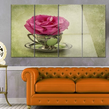 Design Art Red Rose in Cup and Saucer' 4 Piece Photographic Print on Metal (Saucer 4 Piece Set)
