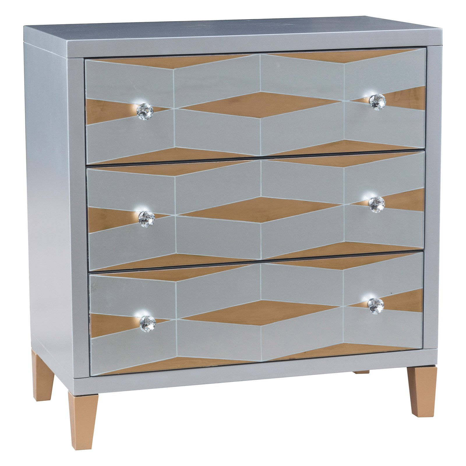 Contrasting Finish Mirror Drawer Chest