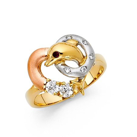 (Heart CZ Dolphin Ring Solid 14k Yellow White Rose Gold Band Stylish Fish Ring Satin & Polished)