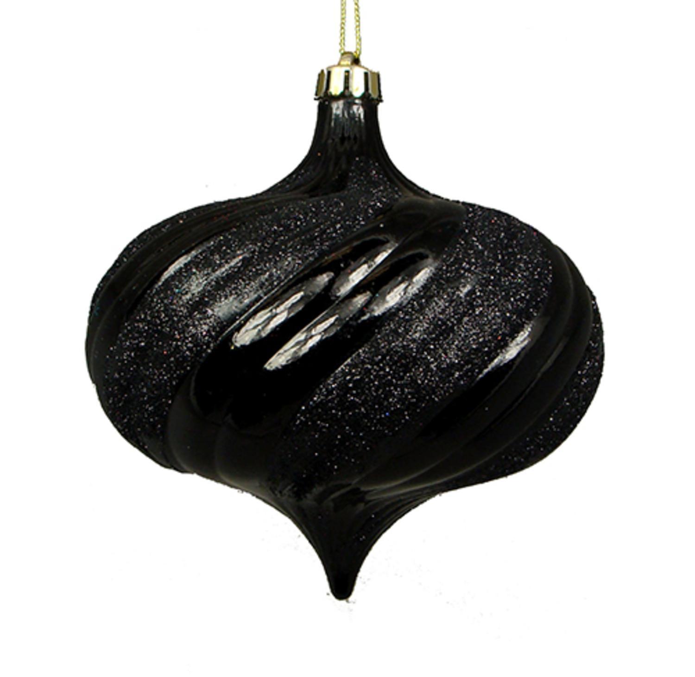 4ct Shiny Jet Black Glitter Swirl Shatterproof Onion Christmas Ornaments 5.75