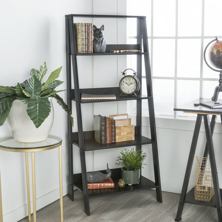 Manor Park 4-Shelf Wood Leaning Ladder Bookshelf - Black (Cobblestone Bookshelf)