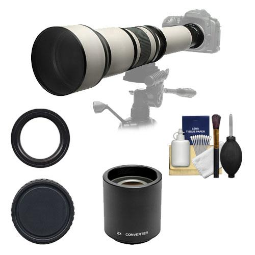 Rokinon 650-1300mm f/8-16 Telephoto Zoom Lens with 2x Teleconverter (=650-2600mm) for Nikon D3200, D3300, D5300, D5500, D7100, D7200, D750 Camera