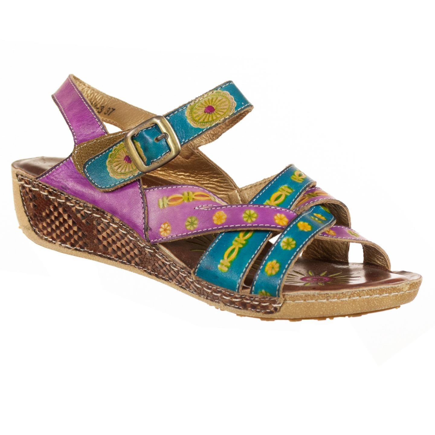 L'Artiste By Spring Step Livingstone Women's Sandals Purple Multi EU 37 US 7 by Spring Step