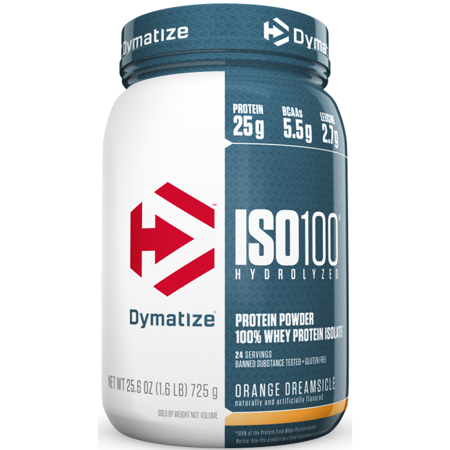 Dymatize ISO 100 Hydrolyzed 100% Whey Protein Isolate Powder, Orange Dreamsicle, 25g Protein/Serving, 1.6 Lb ()
