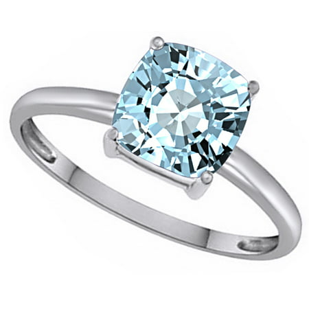 Cushion-Cut Simulated Blue Aquamarine March Birthstone Solitaire Ring In 14K White Gold Over Sterling Silver (2.5 Cttw)