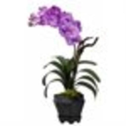 Nearly Natural Vanda Silk Arrangement with Black Hexagon Vase, Purple