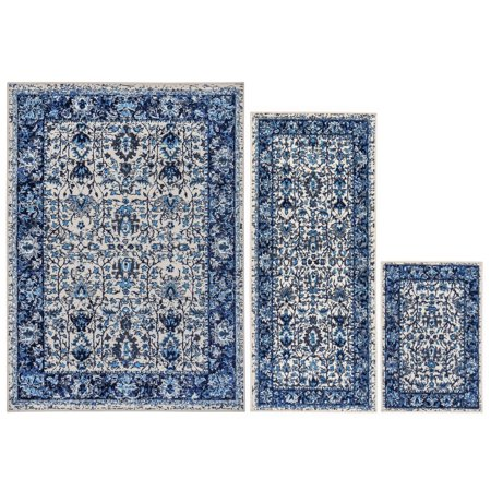Global Blue and White Lotus Traditional 3-piece Rug Set