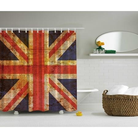 Britain British Flag Patriot English United Kingdom Queen Grunge Shower Curtain