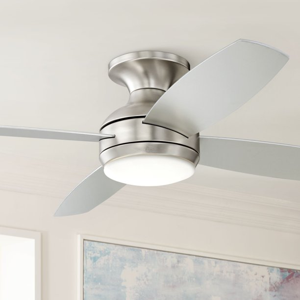 52 Casa Vieja Modern Hugger Ceiling Fan With Light Led Dimmable Remote Control Flush Mount Brushed Nickel For Living Room Bedroom Walmart Com Walmart Com