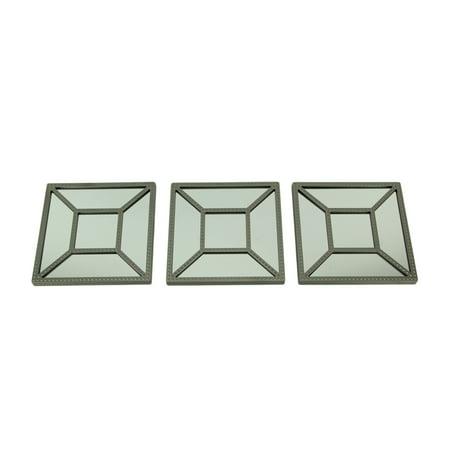 Square Geometric Frame Decorative Wall Mirrors Set of 3 ...