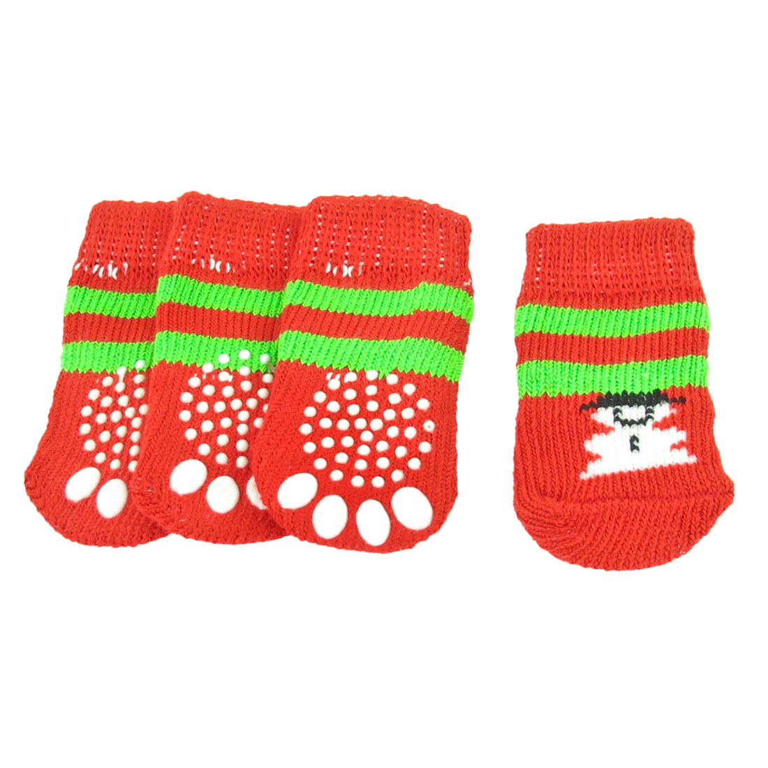 Unique Bargains 2 Pairs Warm Anti Slip Design Knitted Pet Dog Puppy Socks Red Green Size S