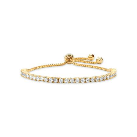 3 TCW Round White Cubic Zirconia Adjustable Drawstring Strand Bracelet 14k Gold-Plated