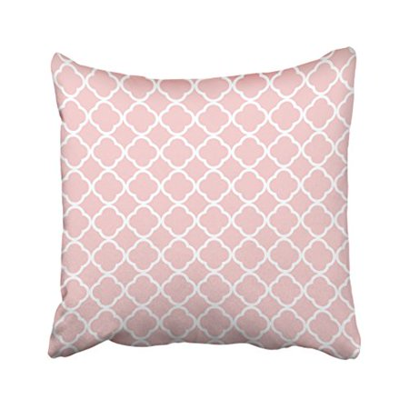 WinHome Decorative Home Decorative Pretty Blush Pink White Quatrefoil Pattern Pillows Throw Pillow Cover Cushion Case Size 20x20 inches Two