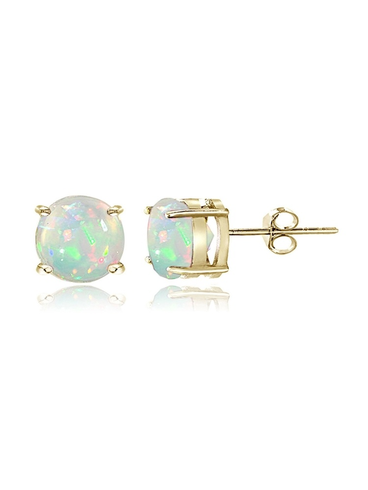 Gold Tone over Sterling Silver 0.30ct Ethiopian Opal 4mm Round Stud Earrings