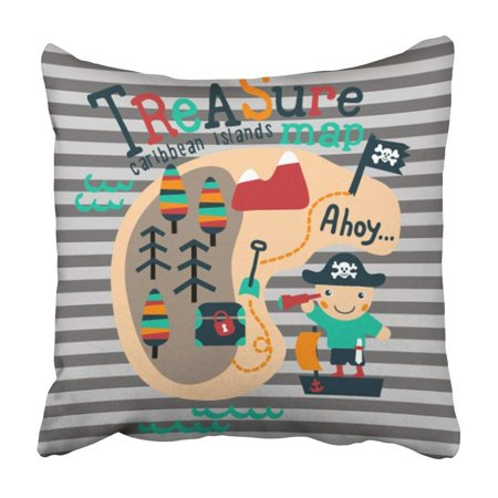 ARTJIA Cute Pirate With Treasure Map Graphic For Children Design For Room Ahoy Adorable Anchor Pillowcase 16x16 - Olive Kids Pirates Treasure Map