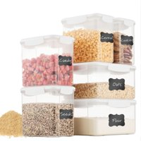 Airtight Food Storage Containers Set With Lids [6 Piece] 100% Leak-Proof & BPA Free Food Containers Set - Dry Food Storage Container Set For Cereal, Sugar, Flour, Rice, Coffee, Nuts, Snacks, Pet Food