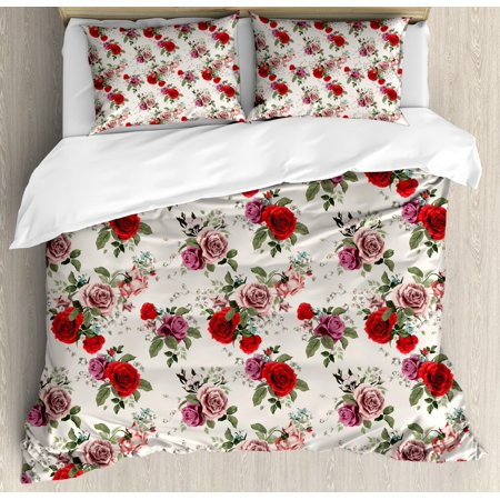 Marvelous Shabby Chic Duvet Cover Set Summer Spring Romantic Valetines Day Themed Flowers Roses Leaf Decorative Bedding Set With Pillow Shams Forest Green Home Remodeling Inspirations Basidirectenergyitoicom