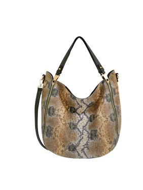 Mellow World Large Women Snakeskin Hobo with Stud Accents