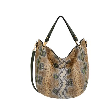 Mellow World Large Women Snakeskin Hobo with Stud Accents Ladies Studded Satchel