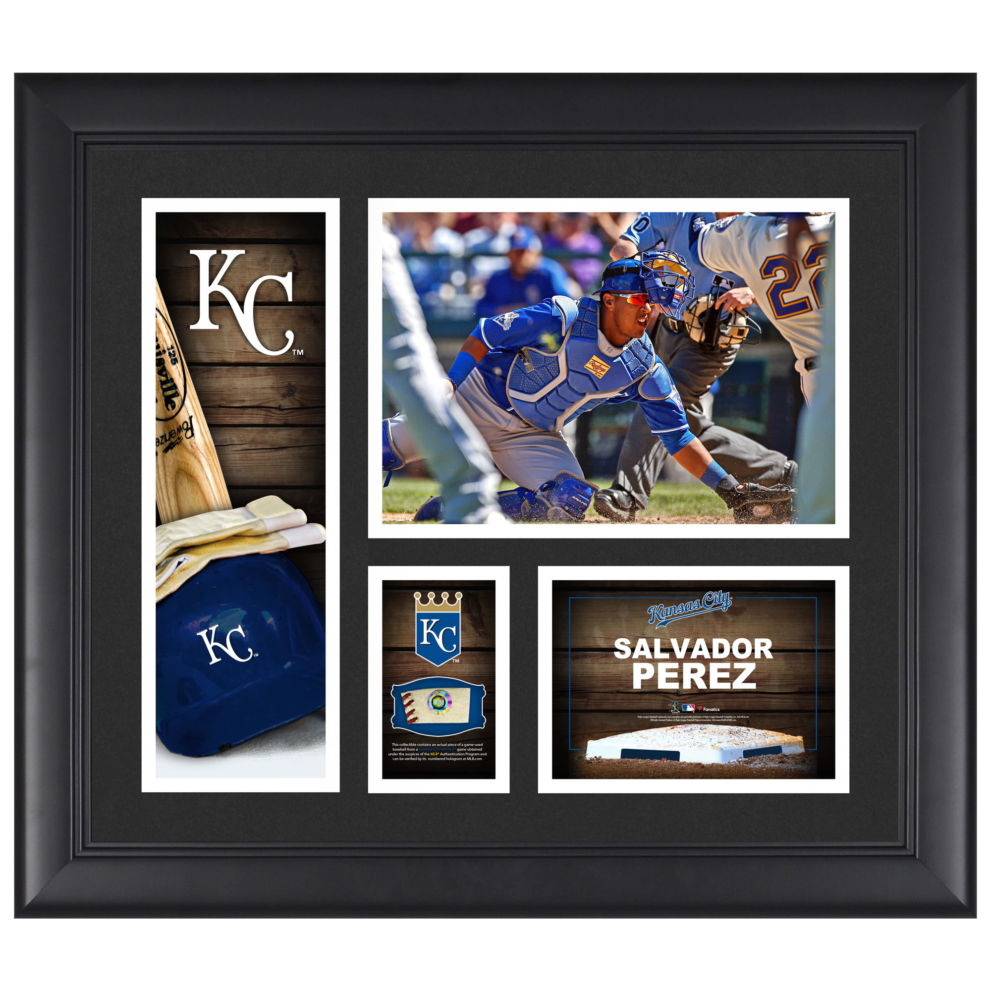 "Salvador Perez Kansas City Royals Framed 15"" x 17"" Player Collage with a Piece of Game-Used Ball"
