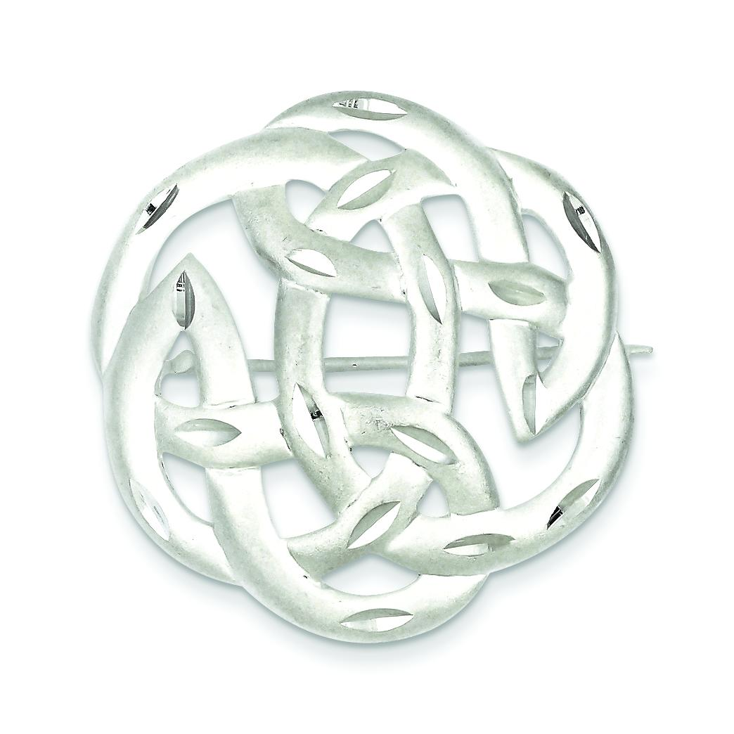 Sterling Silver Diamond Cut Celtic Knot Pin Jewelry by