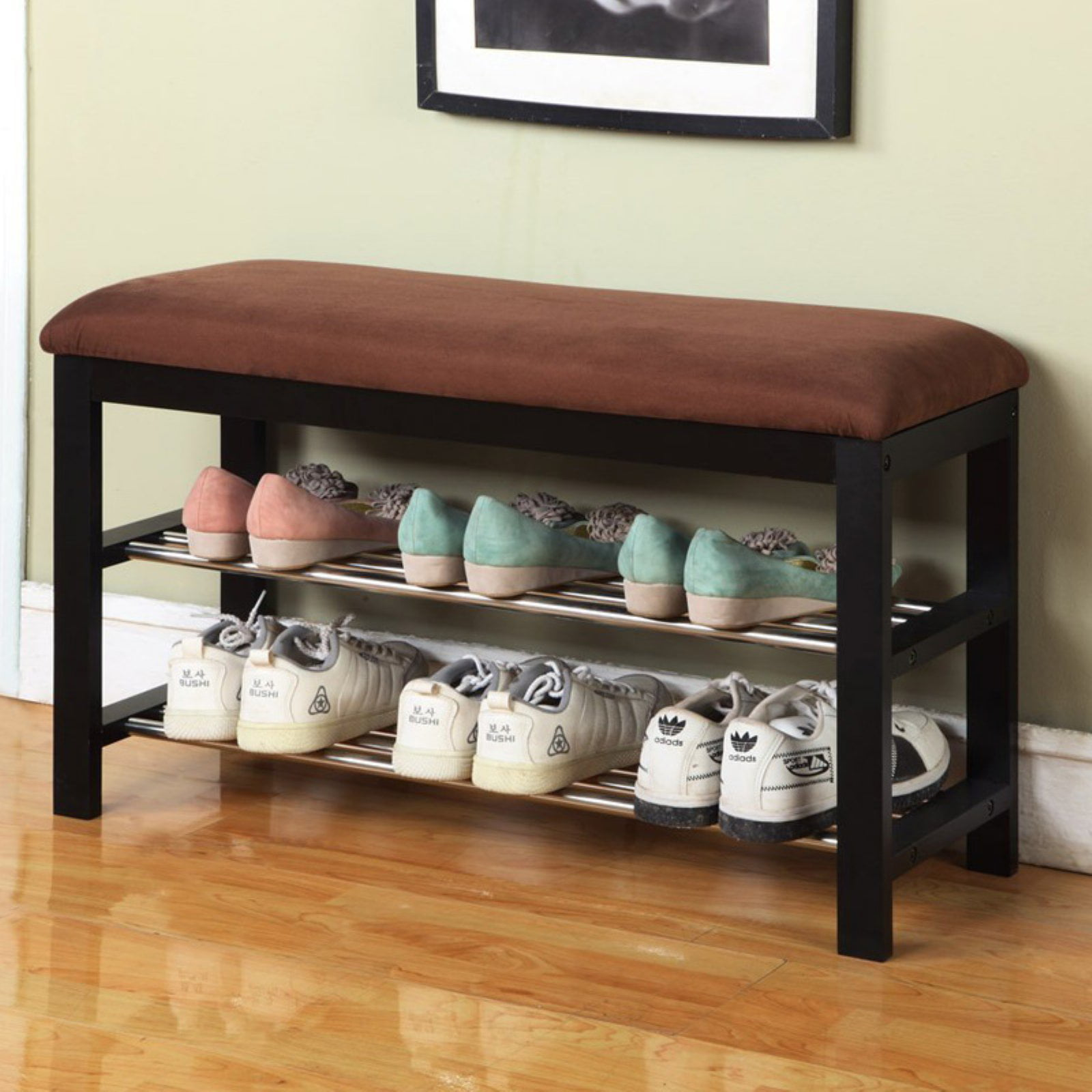 entryway benches with storage organizing | Entryway Bench Seat With Cushion, Shoe Storage Organizer ...