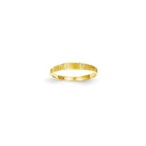 14k Yellow Gold Polished & Ridged Baby Ring