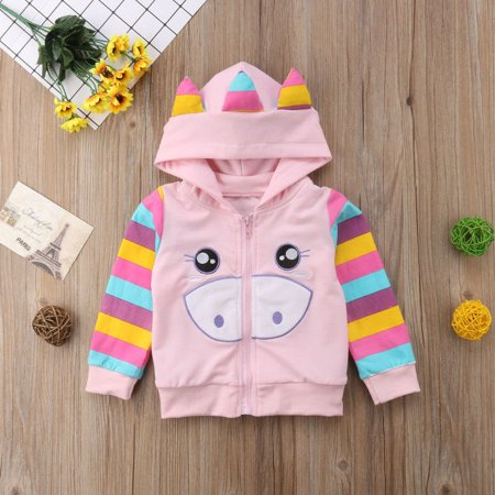 Autumn Newborn Kids Baby Girls Long Sleeve Stripes Hoodies Tops Thin Coat Outerwear Casual Jacket Clothes1-5T ()