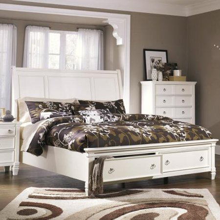 Signature Design Ashley Prentice White Sleigh Storage Bed Bed Whi picture