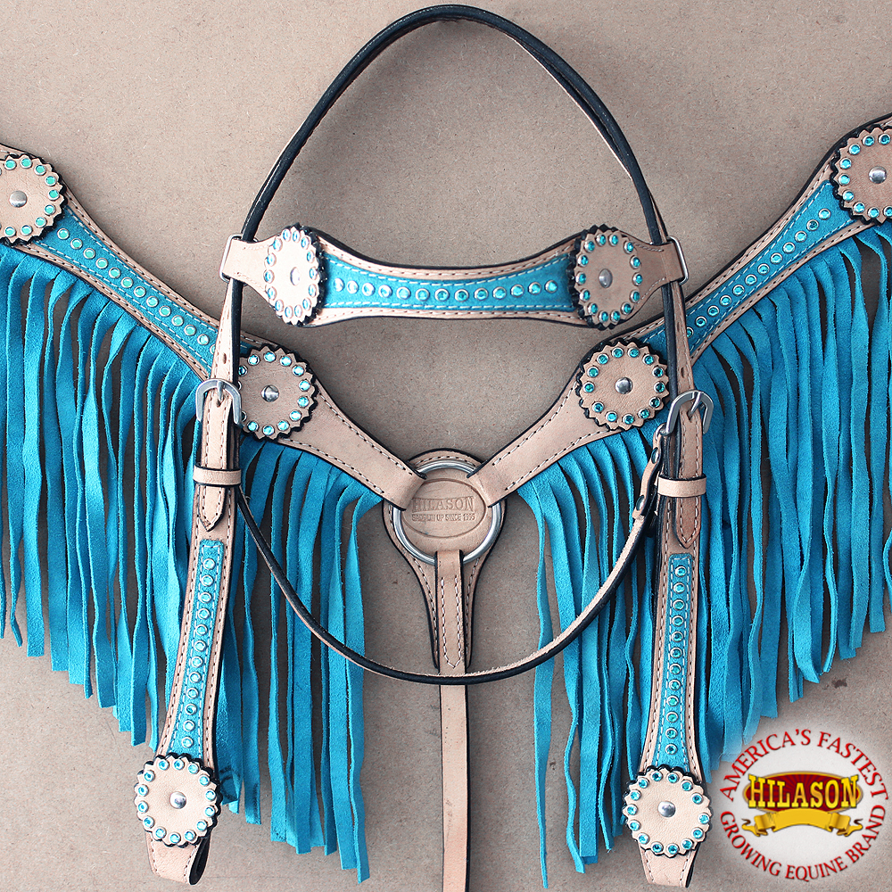 HILASON WESTERN AMERICAN LEATHER HORSE HEADSTALL BREAST COLLAR TURQUOISE FRINGES